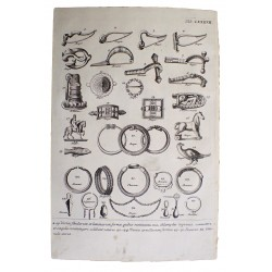 Antik római ékszerek és fibulák rézmetszeten / 1757