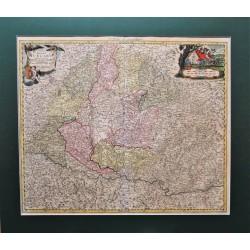 Magyarország térképe a postautak jelölésével 1718
